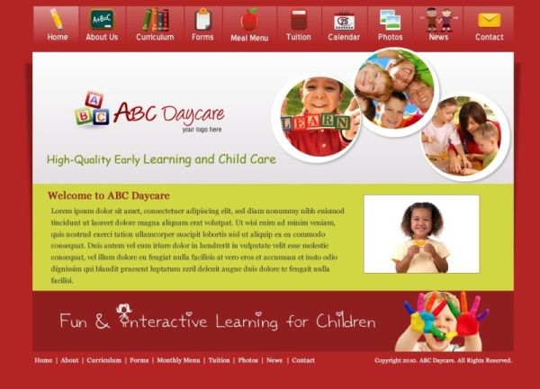 daycare website template - pacq.co