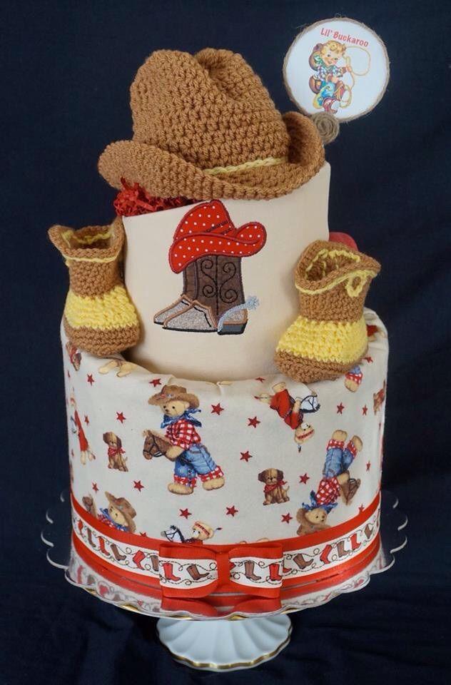 Cowboy themed diaper cake.  www.facebook.com/DiaperCakesbyDiana