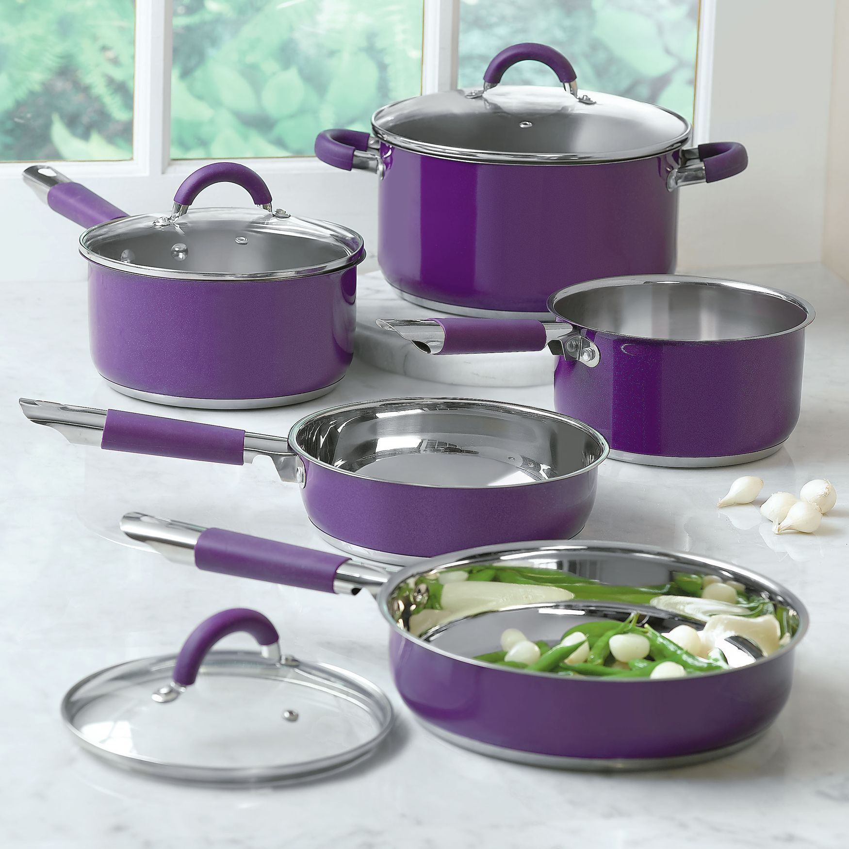 8 Pc Purple Cookware Set Cooking Baking Brylanehome