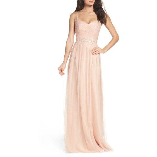 MONIQUE LHUILLIER BRIDESMAIDS Brooks Tulle Gown ($298) ❤ liked on ...