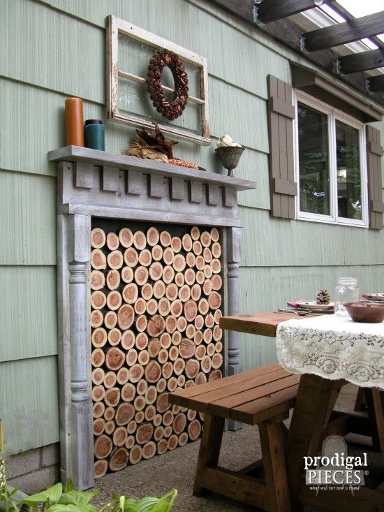 Diy faux fireplace indoor or outdoor faux fireplace for Indoor fire decoration