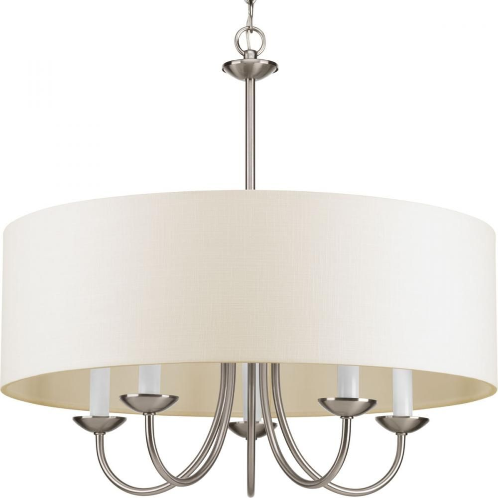 Five light brushed nickel off white glass drum shade chandelier five light brushed nickel off white glass drum shade chandelier sku 1ncad brechers lighting arubaitofo Image collections