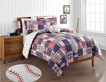 Red White Blue Baseball Bedding Twin Or Full Patwork Plaid Comforter Set With Plush Pillow