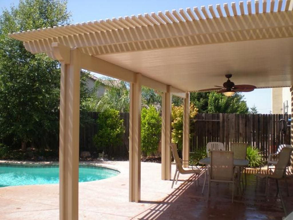 Fun And Fresh Patio Cover Ideas For Your Outdoor E Pool Decks With Also Ceiling Fan Trellis