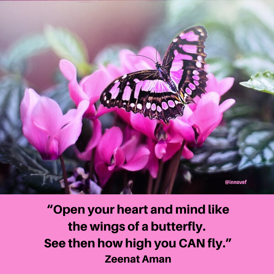 Open Your Heart And Mind Like The Wings Of A Butterfly See Then How High You Can Fly Zeenat Aman Qot Thirty One Gifts Heart And Mind How To Stay Motivated