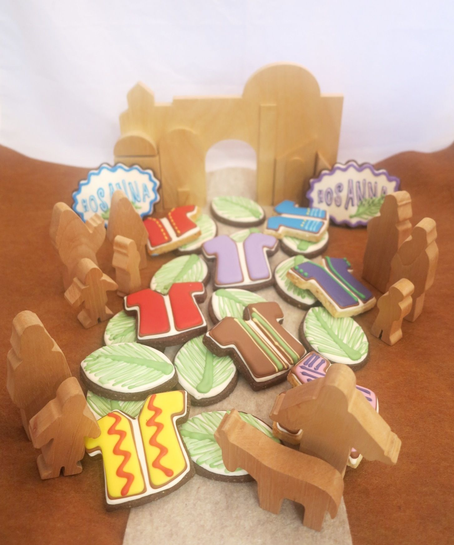 Just a picture: Palm Sunday cookies and wood city | Palm Sunday ...