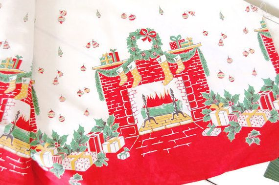 vintage christmas fabric 1940s cotton by theprimitivehome