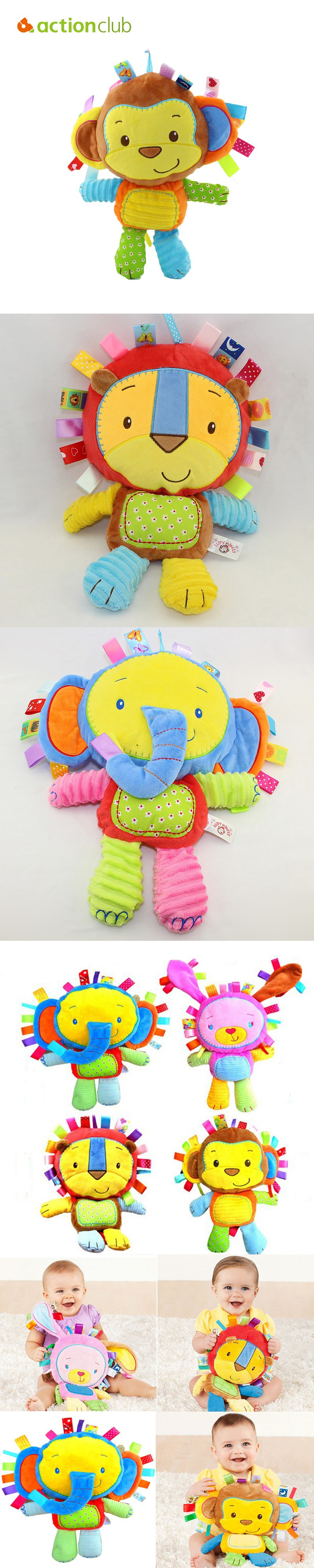 2016 Baby Toys Rattles Plush Animal Toy Kids Plush Rattle Musical Bed Hanging Bell For Baby Children Mobile Toys HT3198