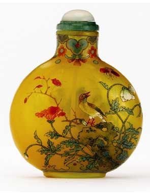 An Enamel on Yellow Glass Snuff Bottle, Qianlong Mark and Period, 1736-1795. Imperial, attributed to the Palace Workshops, Beijing.