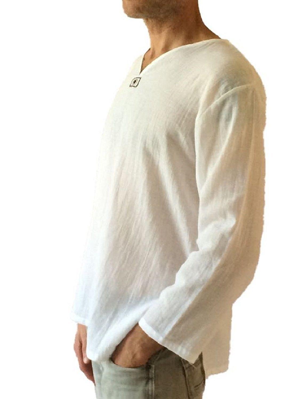 Us Beach Neck Hippie Shirt Yoga S Cotton Thai Men T White V Top f7Yb6gy