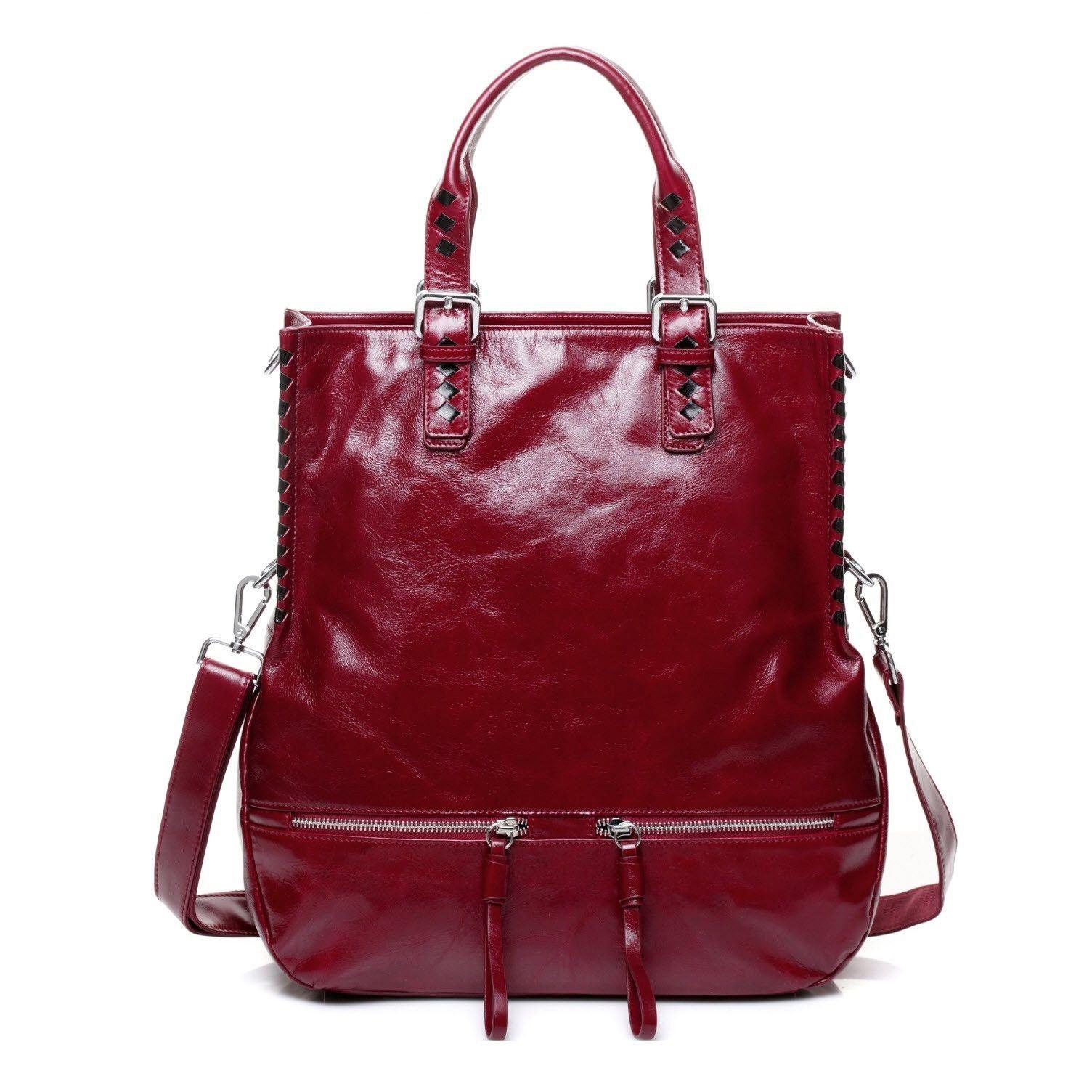 Kermes Crimson Italian Leather Tote Shoulder Handbag w/ Coin Purse - Red