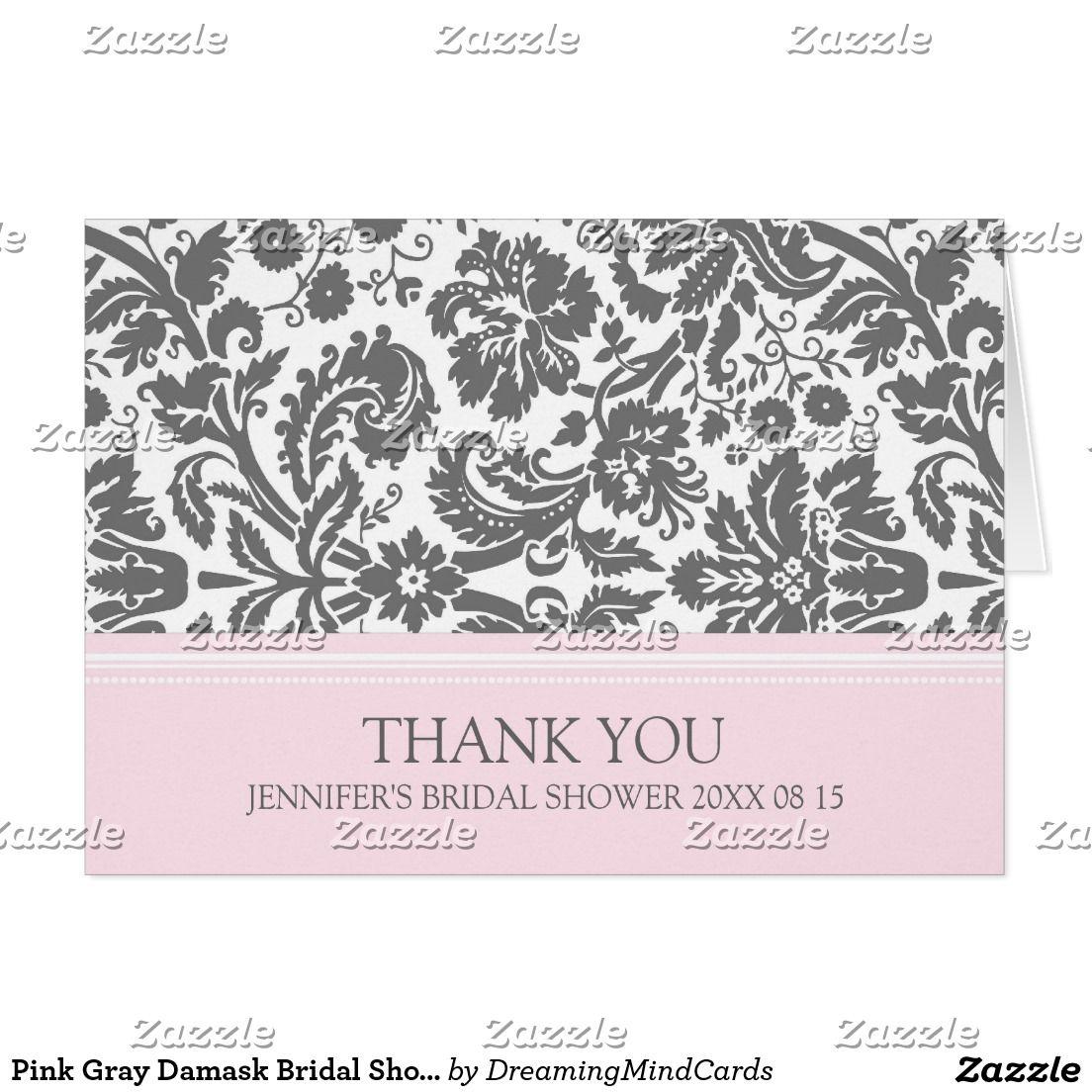 Pink Gray Damask Bridal Shower Thank You Card