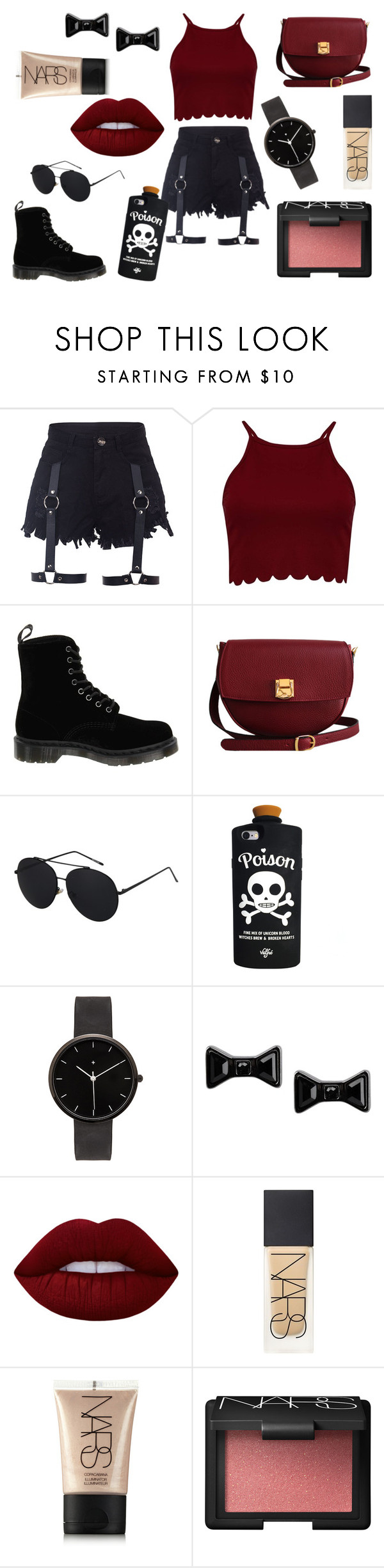 """Untitled #158"" by sarahb-17 ❤ liked on Polyvore featuring Dr. Martens, The Code, Valfré, I Love Ugly, Marc by Marc Jacobs, Lime Crime and NARS Cosmetics"