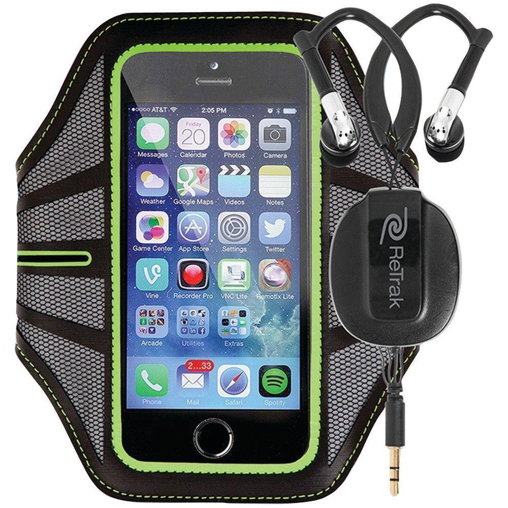 RETRAK ETARMLGN Retractable Sports Wrap Earbuds with Armband (Green)