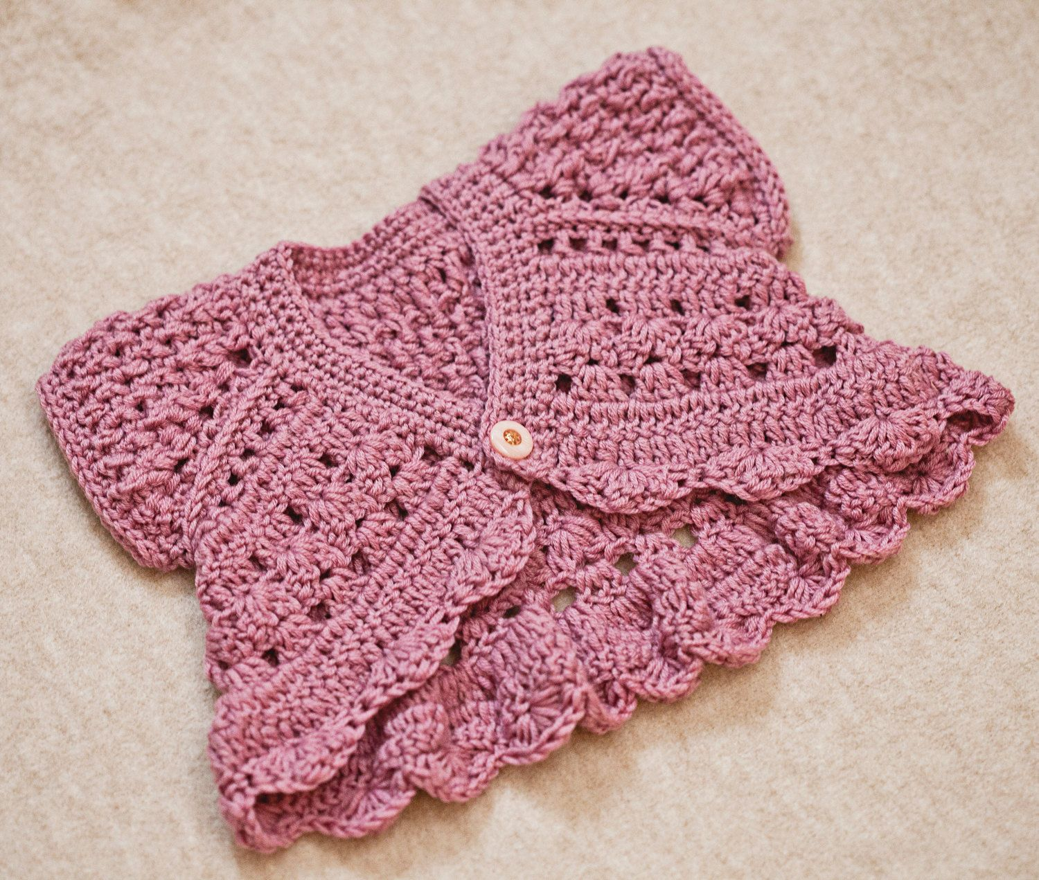 Crochet PATTERN - Butterfly Shrug - Cardigan (sizes baby up to 6 ...
