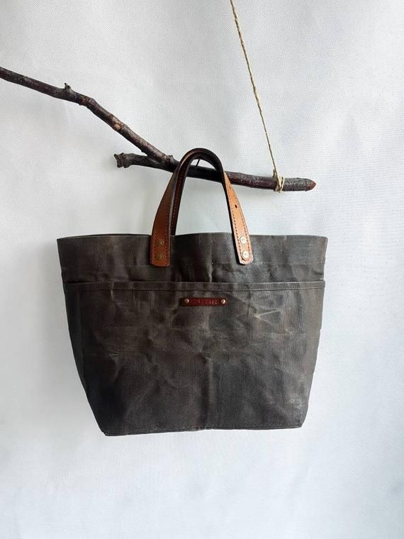 Photo of Waxed Canvas Tote Bag, Canvas Fabric bag, Diaper Bag, Women Handbag, Gift for wife, Gift Anniversary Bag, brown tote bag, tote bag