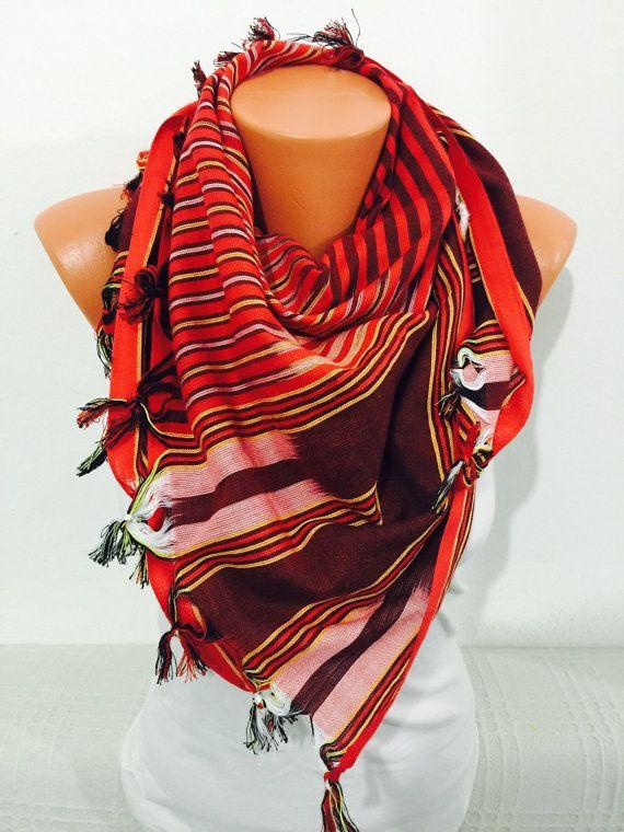 Red stripped scarf bohemian scarf red scarf women by GCbazaar
