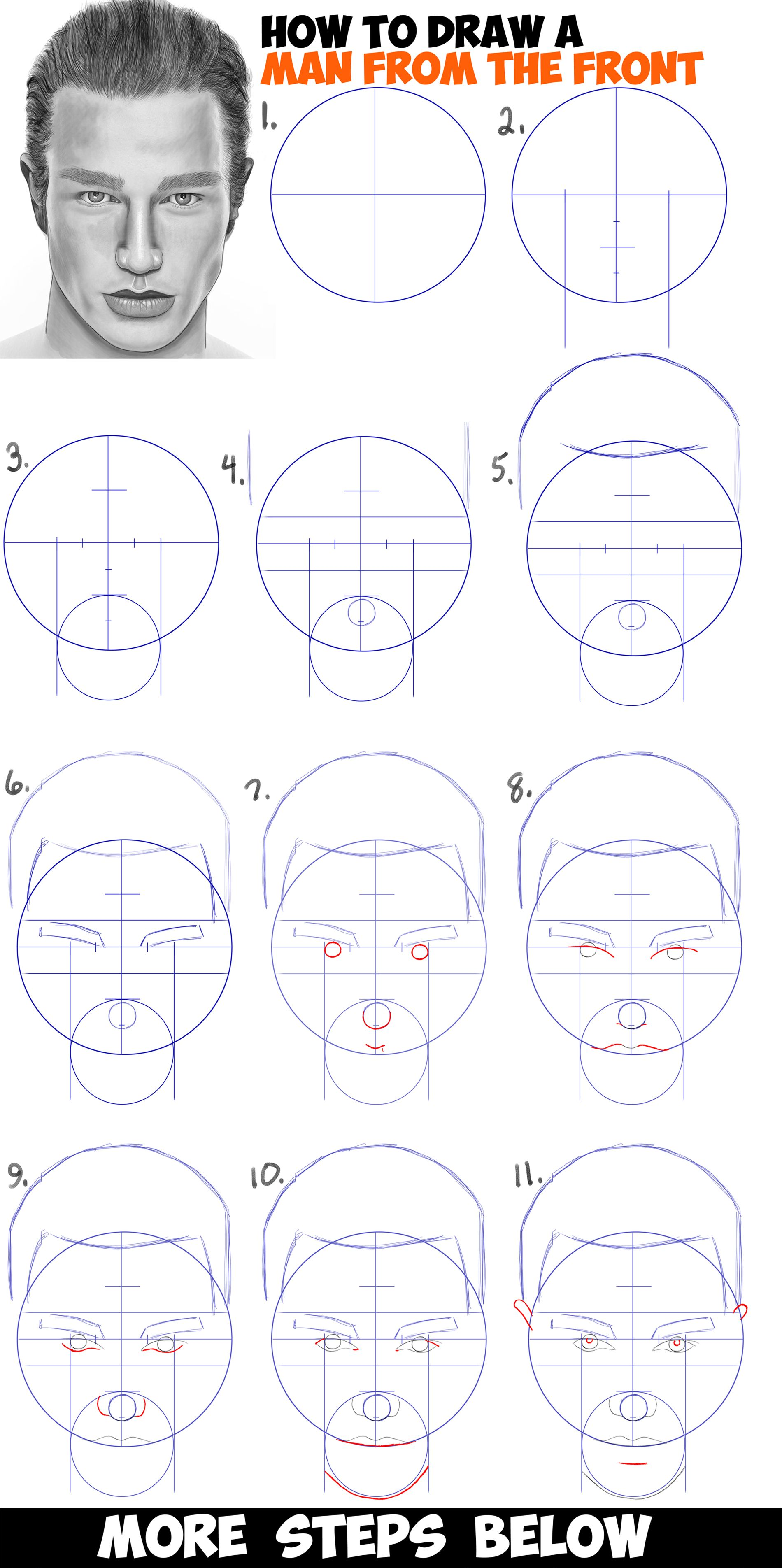 How To Draw A Man S Face From The Front View Male Easy Step By Step Drawing Tutorial For Beginners How To Draw Step By Step Drawing Tutorials Drawing Tutorials For