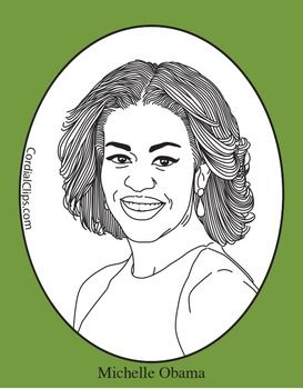 Michelle Obama Clip Art Coloring Page Or Mini Poster In 2020