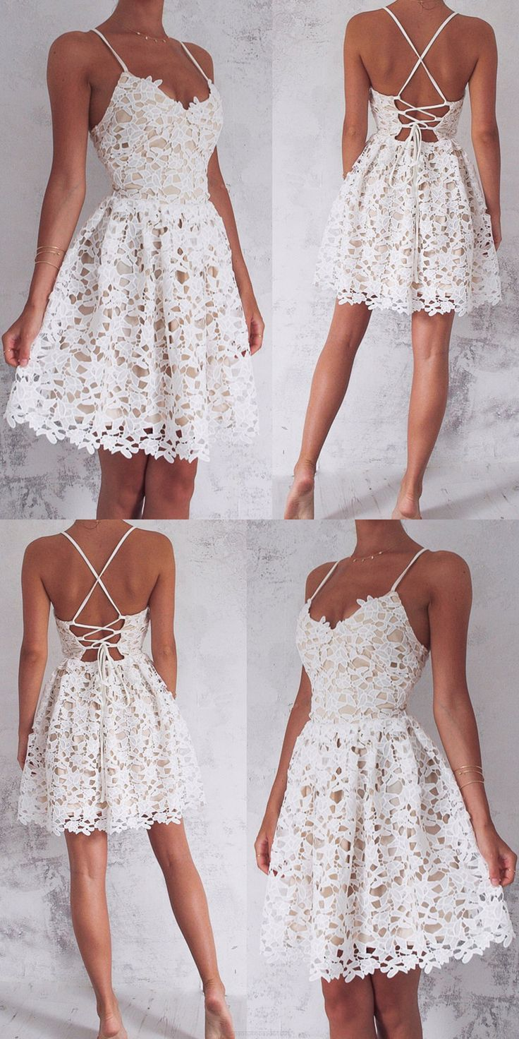 Straps Prom Dresses, Ivory Short Party Dresses, 2017 Homecoming ...