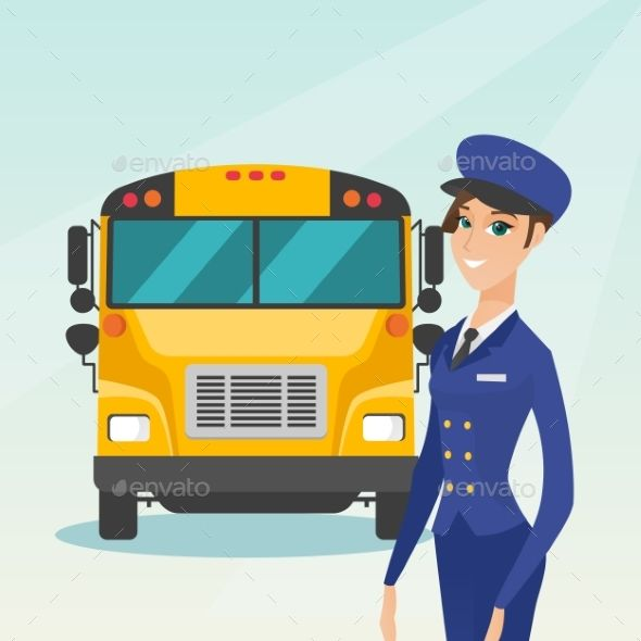 Young Caucasian Female School Bus Driver Con Imagenes