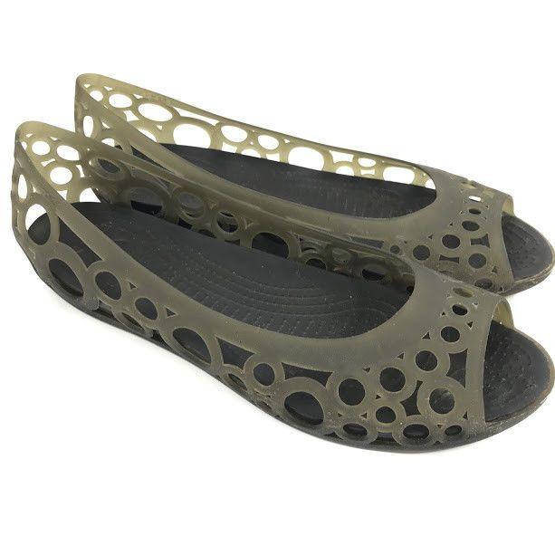 1f00b6c58793 Crocs Adrina Womens Ballet Flats Charcoal Taupe Peep Toe Jelly Size 11 Cut  Out  Crocs  BalletFlats  Casual