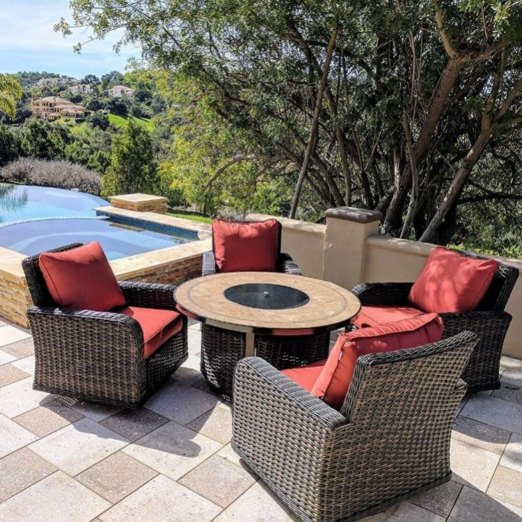 Red Outdoor Cushions Rattan Wicker Outdoor Furniture Patio Rocking