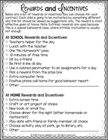 Rewards and consequences are a critical component of behavior - student contract template