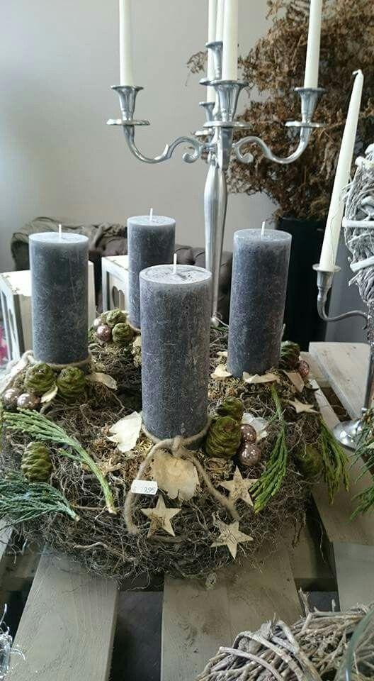 Grau Natur Graue Kerzen Weihnachten Und Adventsgesteck