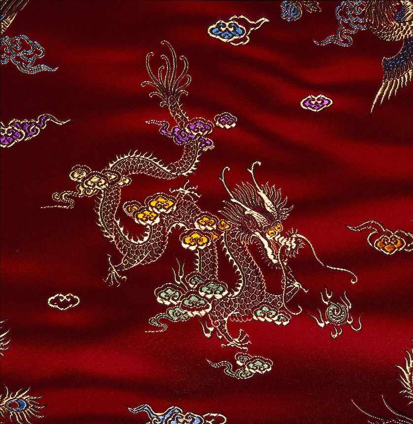 Chinese Dragon Embroidery Silk Textile The Fabric Of