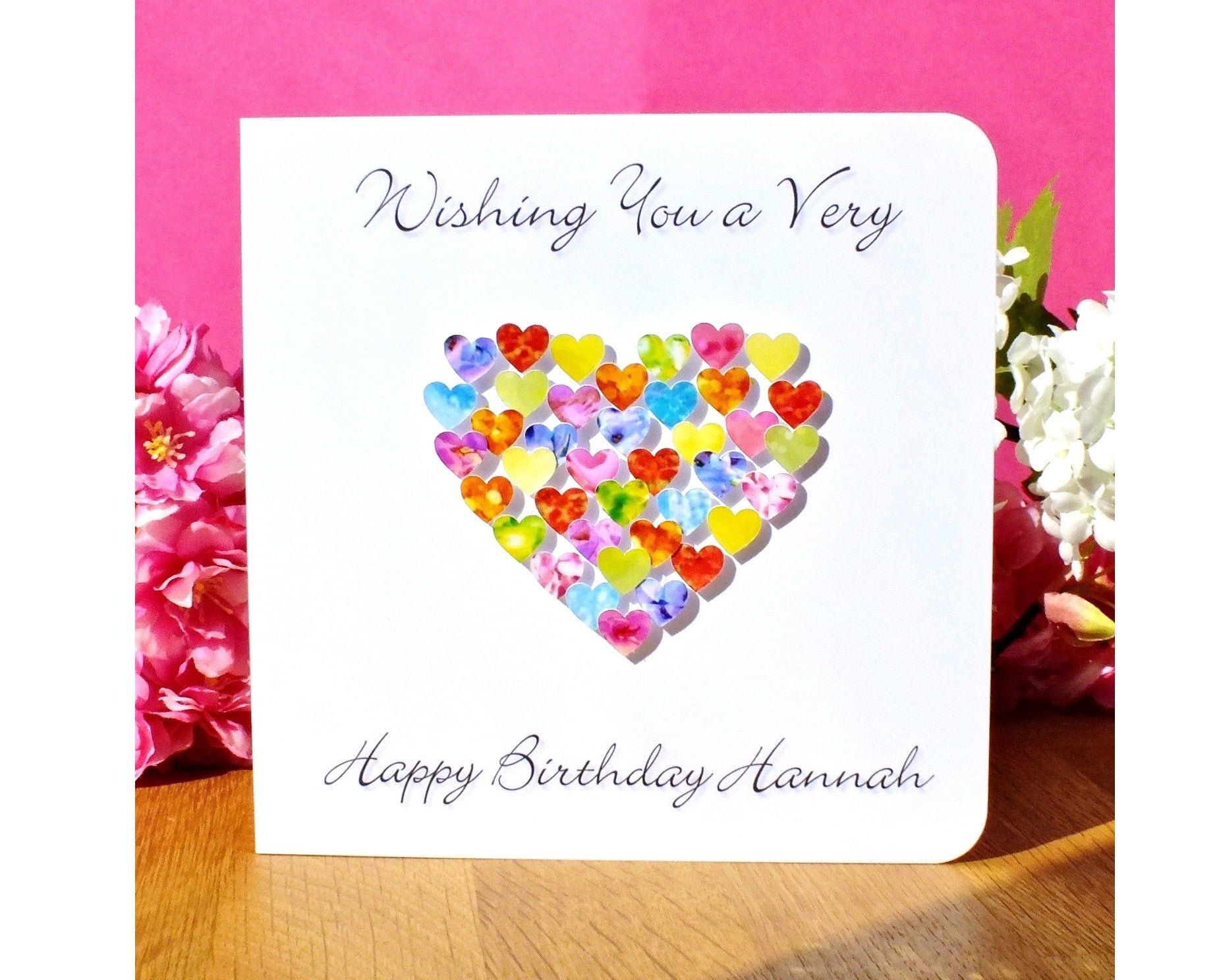 Personalised Birthday Card - Colourful Custom Birthday Card with Name or Relation of your choice, Sister, Friend, Daughter, Mum, etc.