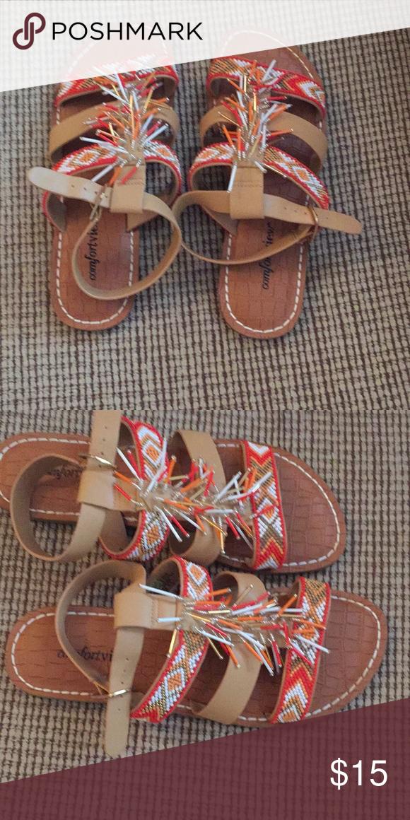 5005dd6af Ladies beautiful beaded sandals chevron look Ladies beaded sandals. Tan  faux leather with beautiful coral