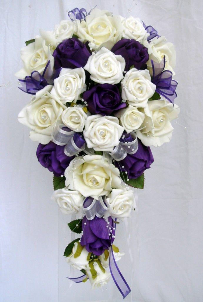 Wedding Bouquet Purple Ivory Roses Pearls Purple Wedding