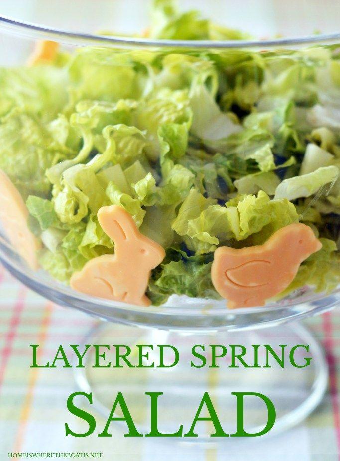 Layered Spring Salad | ©homeiswheretheboatis.net #Easter #spring #salad #makeahead #recipes