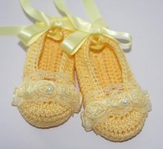 Baby Ballerina Slippers Yellow Crochet Booties by LeftyStitches, $18.99