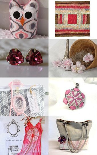 In the pink...and grey . . . by Joanne from MakeUTick on Etsy.