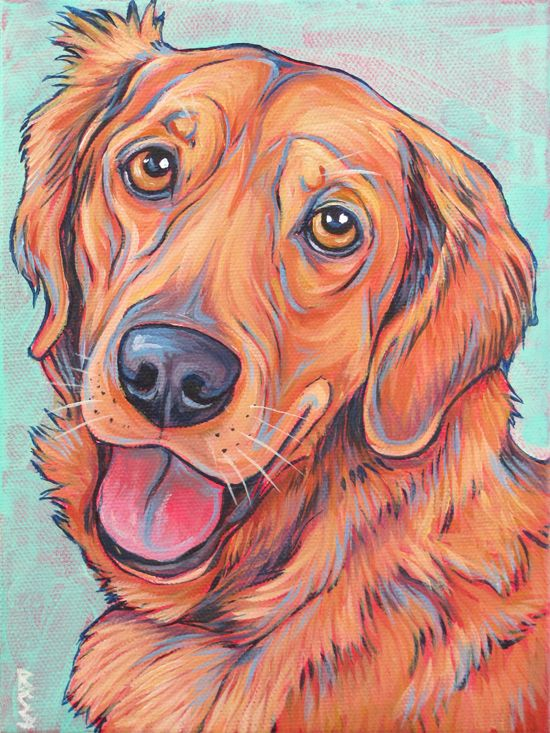 Jack the Golden Retriever, portrait Painting in Acrylic on Canvas from Pet Portraits by Bethany