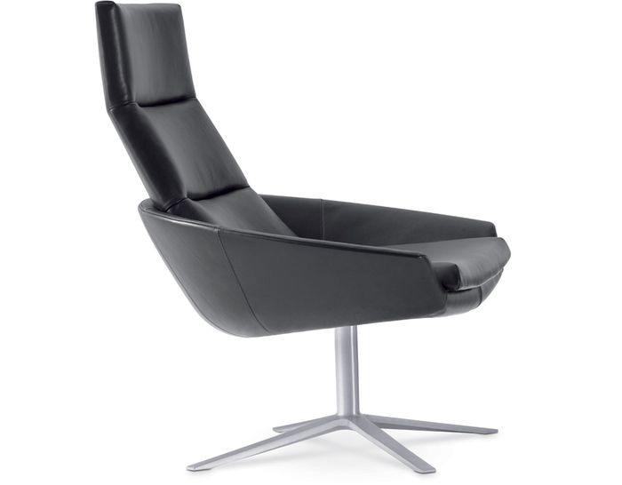 Shuji Office   Accent Chair: Hugo High Back Easy Chair | HiveModern Black  Leather   $3,485.00