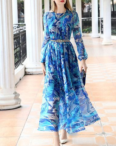 8a9f6488259 Check the details and price of this Appealing Blue Printed A-line Long  Sleeve Maxi Dress (Blue