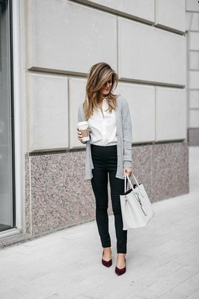 Grey lightweight cardigan white button down shirt black ponte pants and kitten heels  business casual outfit ideas
