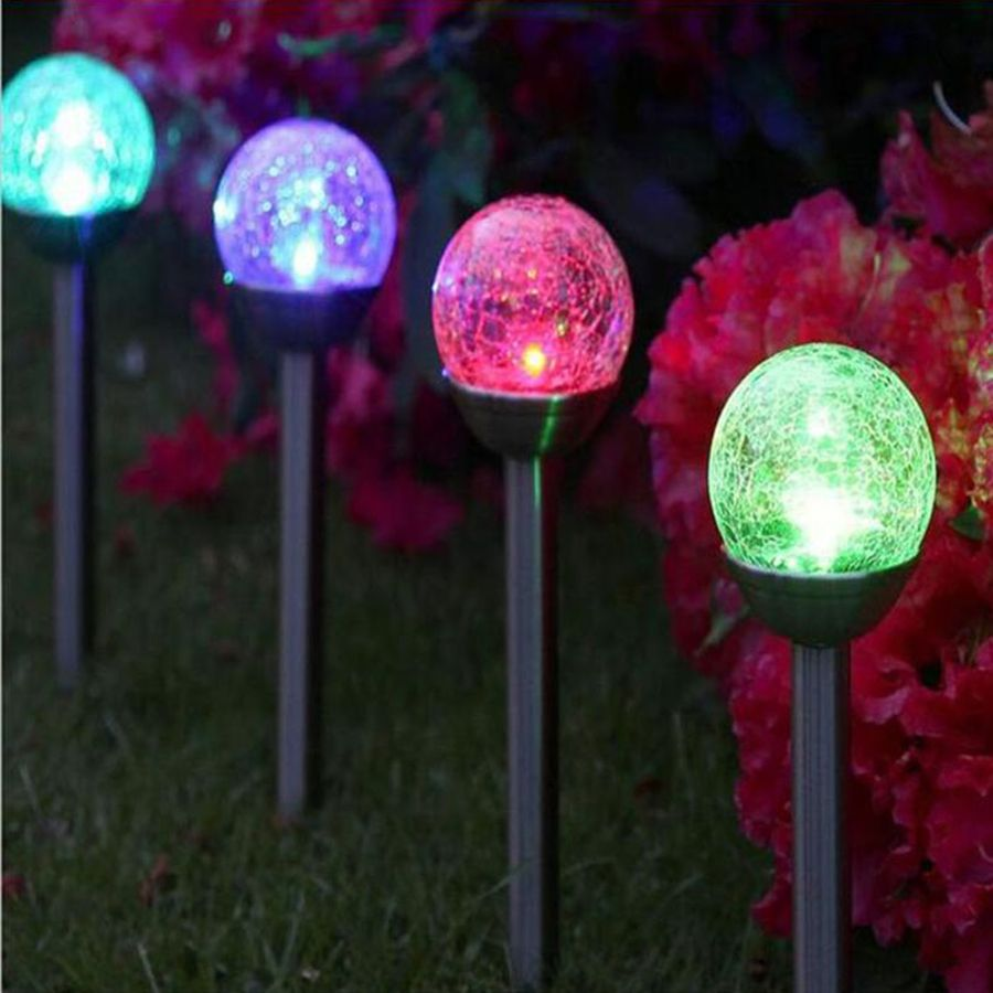 2pcslot crystal ball solar lawn light color changing led garden line your paths with these 4 colour changing crackle ball stake lights workwithnaturefo