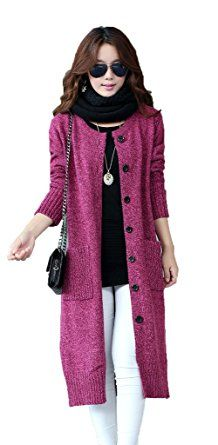 Women's Classic Button Down Pocket Wool Knit Long Large Cardigan Sweater Coat