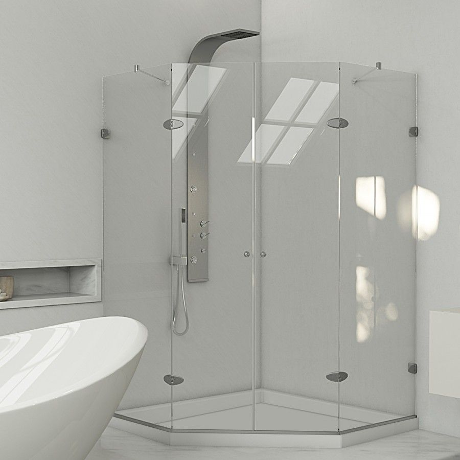 lowes gemini frameless neoangle 375in shower enclosure with low