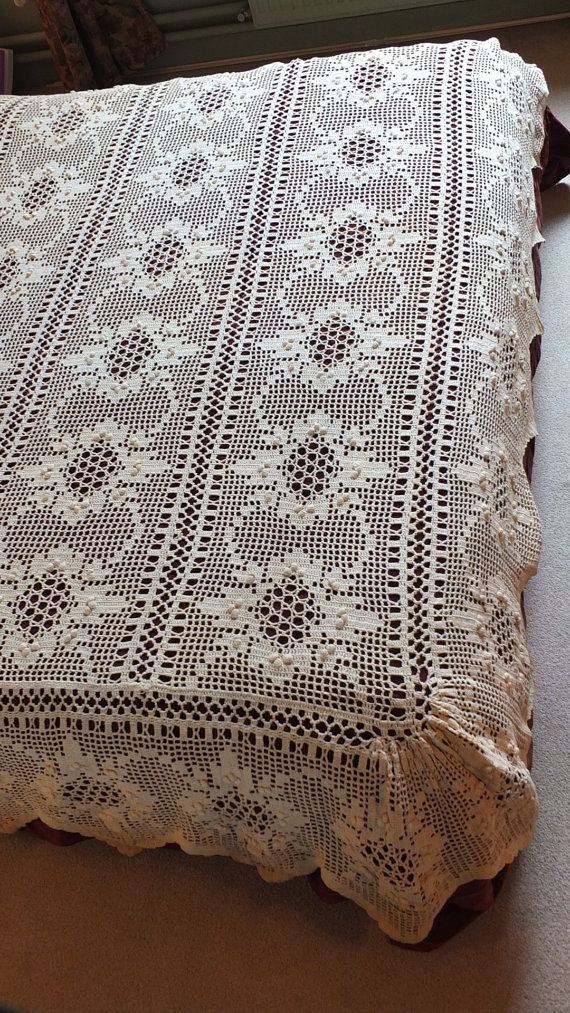 RESERVED Handmade Lace bedspread w/ flounce coverlet throw Provence ...