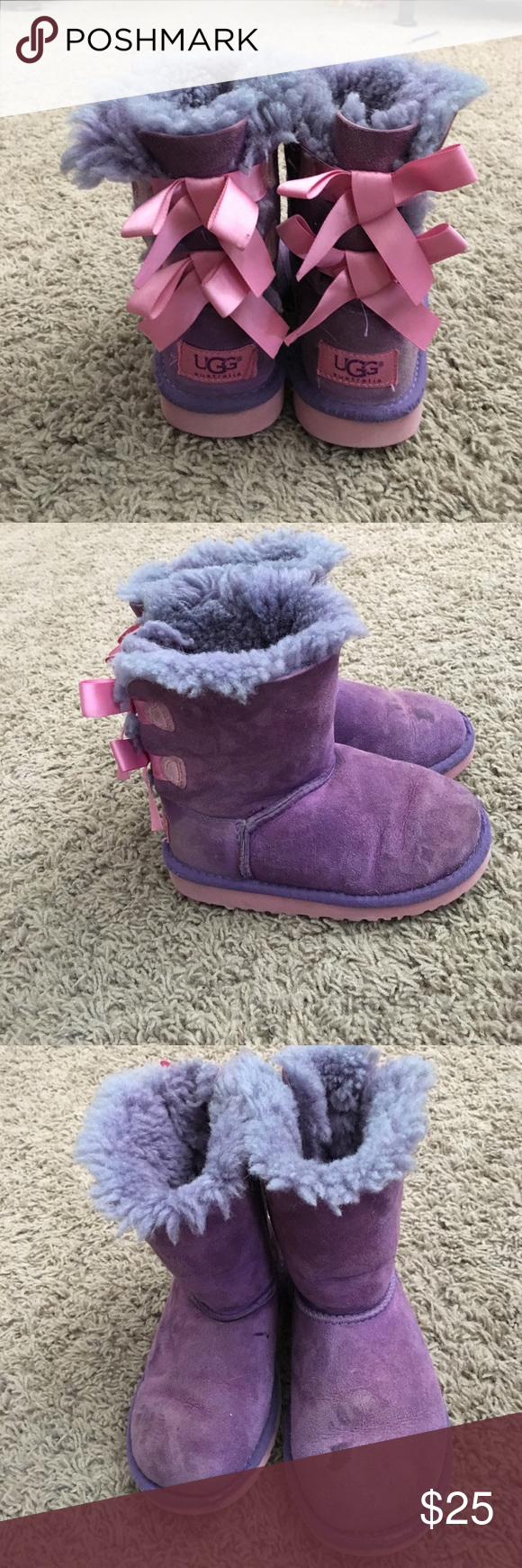 Cute toddler Ugg boots Cute purple Ugg boots with 2 bows in back some signs of use and small stain on front GUC UGG Shoes Boots