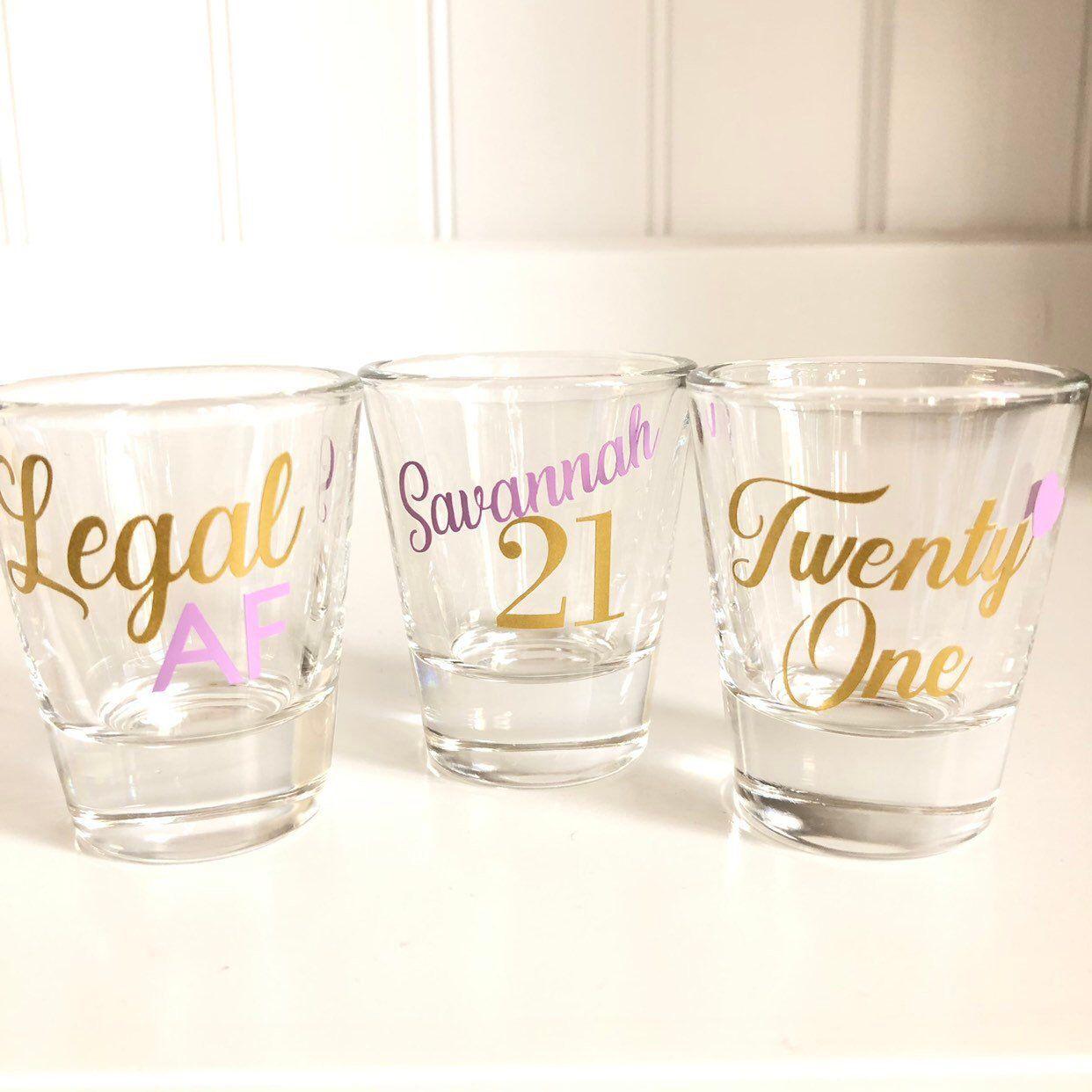 21st birthday shot glass21st birthday giftlegal afshot