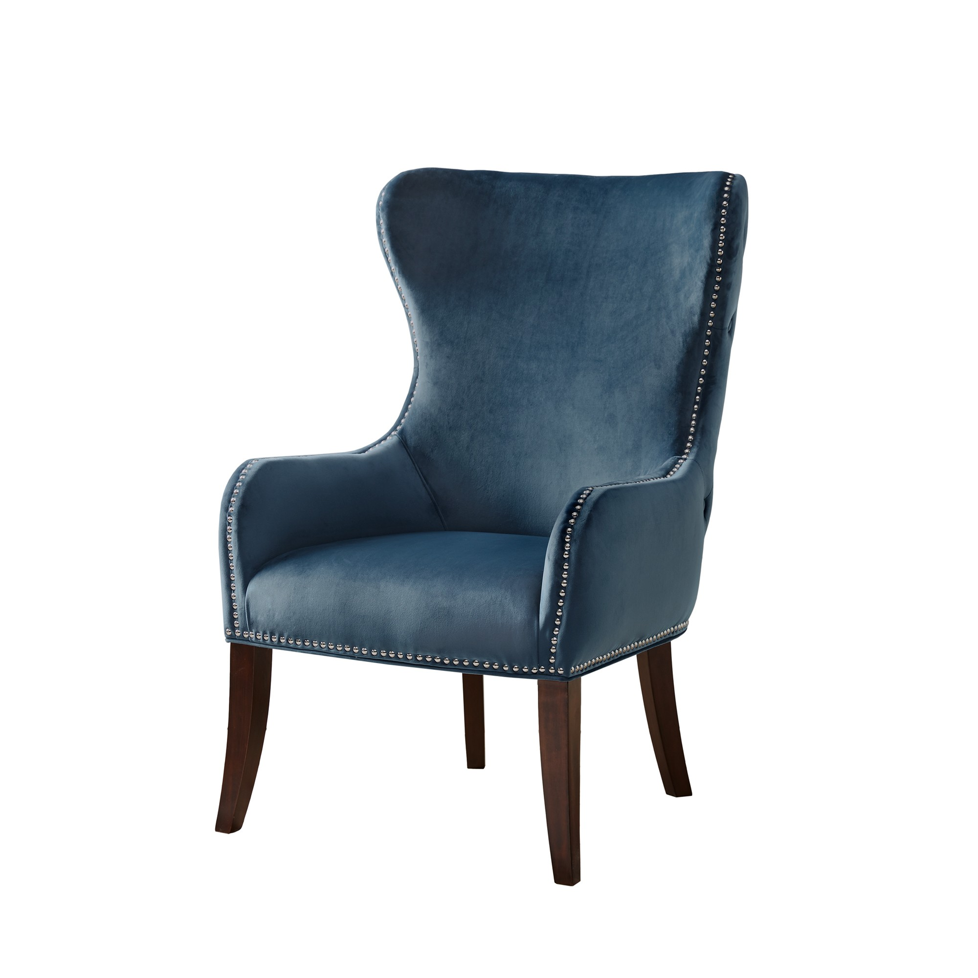 Best Silloth Button Tufted Back Accent Chair Blue Blue 400 x 300