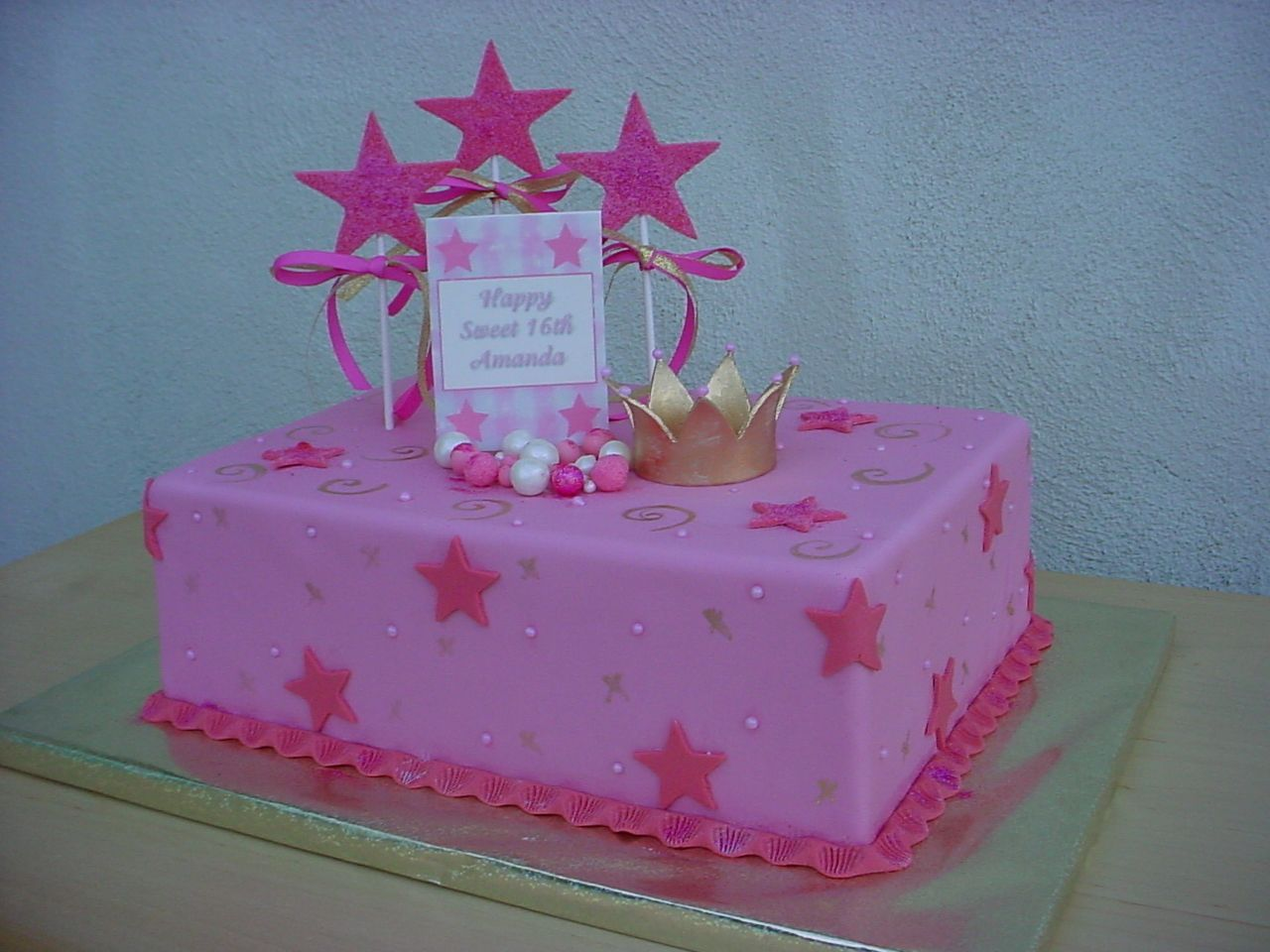 Pink Princess Cake - 1/4 sheet cake decorated all with ...