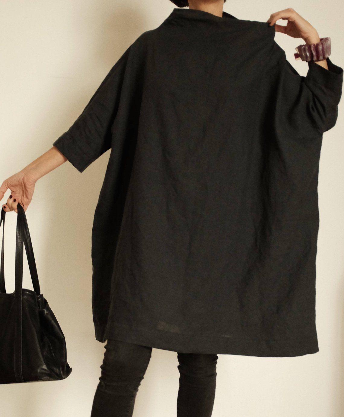 Linen Dresses Tunica Lino Anthracite Jacke XXL Maxi Tunica
