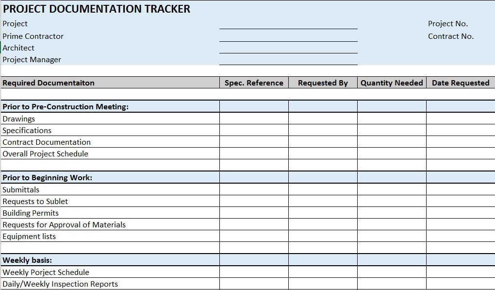 Free Construction Project Management Templates in Excel | Checklist ...